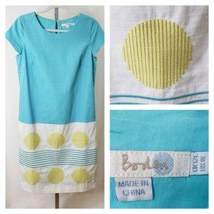 Boden Dress Aqua Yellow Embroidered Circles Stripe